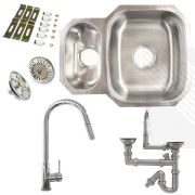 Premium Undermount Stainless Steel Kitchen Sink | Reversible 1.5 Bowl | Single Lever Pull-Out Kitchen Tap Pack including Pipework